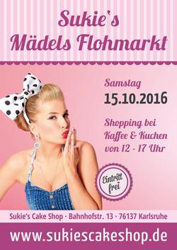 Sukie´s Mädels Flohmarkt am 15.10. in Sukie´s Cake Shop in Karlsruhe - Ihr Café mit British & American Bakery. Bei Kaffee und Kuchen darf von 12 - 17 Uhr kräftig geshoppt werden. Der Eintritt ist selbstverständlich frei.